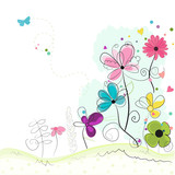 Fototapety Spring time abstract colorful doodle flowers background vector
