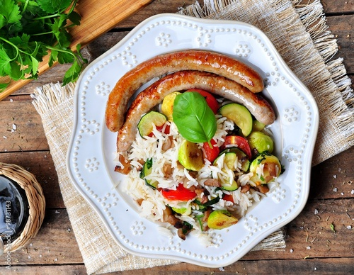 ... zucchini, garlic, cherry tomatoes, basil, parsley and chicken sausages