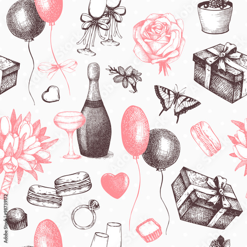 Cotton fabric Vector seamless background with ink hand drawn valentine's day illustration. Vintage valentine's day pattern.