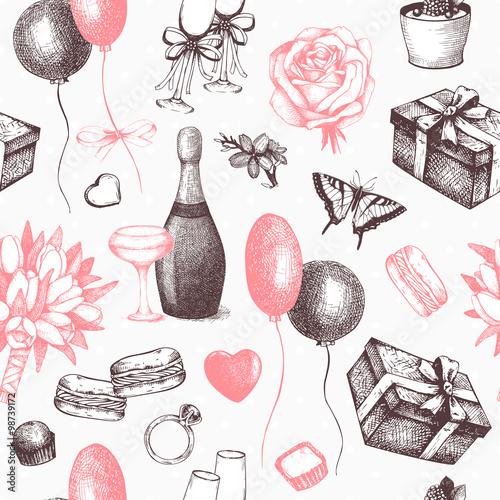 Materiał do szycia Bezszwowe tło wektor ręką atrament rysowane ilustracja Walentynki. Vintage wzór na Walentynki.