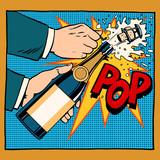 Fototapety opening champagne bottle pop art retro style
