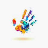 Fototapety Hand of paint stains. Rainbow splash