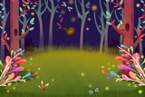 Illustration: Forest Night with Glow Firefly Light in the Dark. Realistic Fantastic Cartoon Style Artwork Scene, Wallpaper, Story Background, Card Design