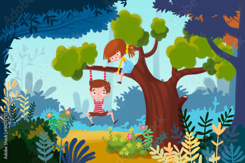 Fototapeta Illustration for Children: Little Boy and Little Girl Play up in a Tree. Realistic Fantastic Cartoon Style Artwork Scene, Wallpaper, Story Background, Card Design