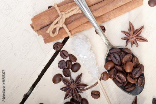 Fotobehang Koffiebonen coffe sugar and spice