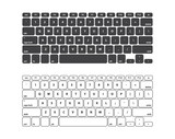 Set Black and White Keyboard Stroke QWERTY - Isolated Vector Illustration