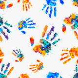 seamless pattern - painted hands