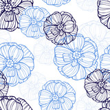 Floral pattern with poppies flowers - 98787964