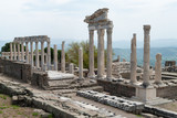 The Temple of Trajan in the archaeological site of the Acropolis of Pergamum in Bergama, Turkey