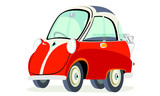 Caricatura BMW Isetta 300 rojo vista frontal y lateral