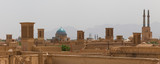 Panoramic view of badgirs and mosques of Yazd, Iran