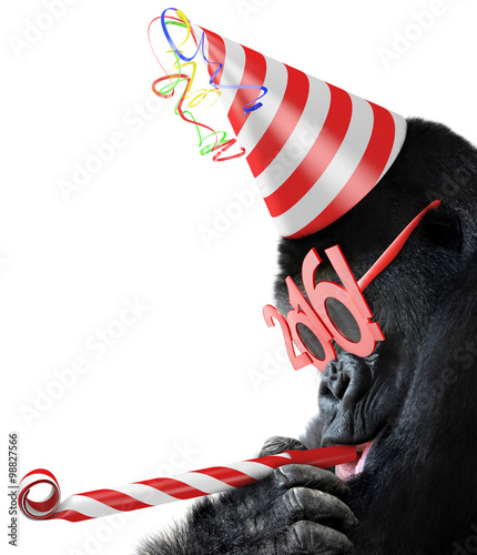 Foto op Canvas Aap Silly gorilla with cone hat and New Year 2016 glasses blowing a party horn for Chinese Year of the Monkey