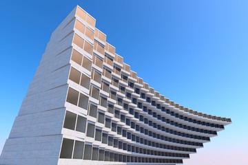 Przyszłość architektury. Futurystyczny budynek. w nowoczesnym budynku. Koncepcja przyszłości