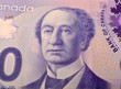 Canadian dollar bank note close up