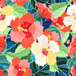 tropical colorful hibiscus pattern