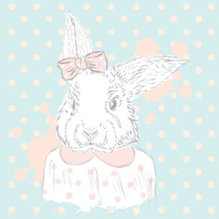Rabbit vector . Hand drawing of the animal. Print . Hipster. Watercolor Bunny . Vintage postcard.