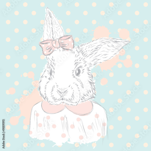 Rabbit vector . Hand drawing of the animal. Print . Hipster. Watercolor Bunny . Vintage postcard. - 98891915