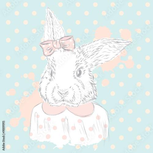 Fototapeta Rabbit vector . Hand drawing of the animal. Print . Hipster. Watercolor Bunny . Vintage postcard.