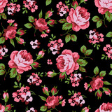 Seamless floral pattern with red roses - 98893737