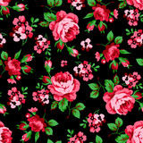 Seamless floral pattern with red roses - 98893745