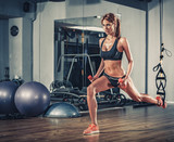 Fototapety woman training with dumbbells