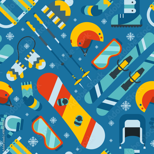 Materiał do szycia Winter Sports and Activity Seamless Pattern Background