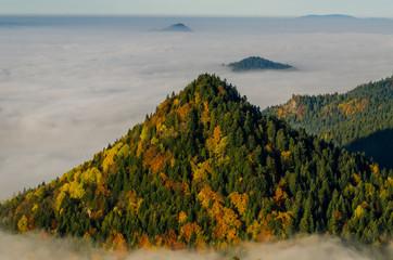 Poranne jesienne mgły  widok  trzech koron