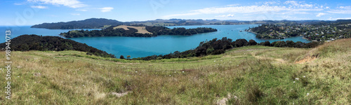 Poster Oceanië Aerial landscape view of Mangonui New Zealand