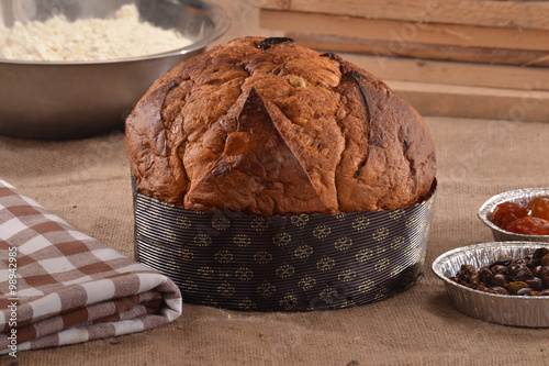Foto op Canvas Koffie Panettone con chocolate,panetone.