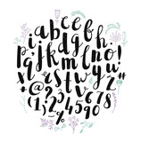 Fototapety Vector brush pen hand drawn font, alphabet, letters.