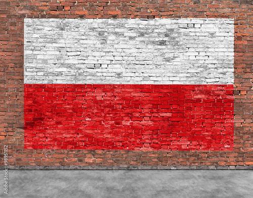 Fototapeta Polish flag painted on brick wall