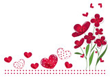 Valentine's Day background with Red hearts, abstract flowers vector