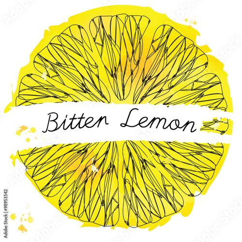Fototapeta Slice Lemon. Citrus Fruit Texture. Sketch Frame. Ink Pen on Wate