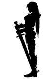 Guardian knight woman silhouette. Illustration girl warrior silhouette in knight armor with two-handed sword