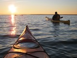 Fototapety Kayaking at sunset