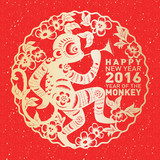 Traditional Chinese paper cut art for Chinese New Year – Year of the Monkey 2016