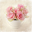flowers. pink roses in a vase