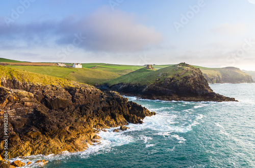 Poster Doyden Castle in panorama of Cornwall coastline