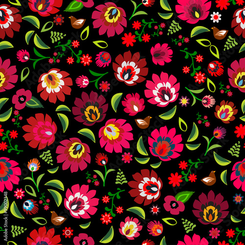 Polish folk floral pattern vector - 99002348