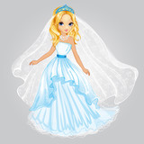 Beauty Blonde Princess In Wedding Dress