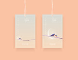 Fototapety Minimalistic contemporary creative sale label tags templates with two bluebirds on a tree branch covered with snowflakes