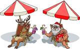 Fototapety Santa and reindeer