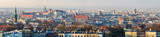 Panoramic view of Royal Wawel Castle in Krakow and St. Mary's Basilica, view from Krakus Mound