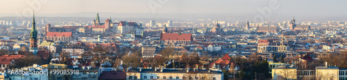 Fototapeta Panoramic view of Royal Wawel Castle in Krakow and St. Mary's Basilica, view from Krakus Mound