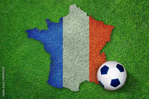 Poster Euro 2016 Fußball EM Frankreich Landkarte Fahne mit Ball auf Rasen