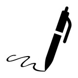 Pen signature flat icon for apps and websites