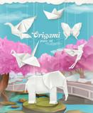 origami papíru nastaven vektor pozadí