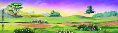 Foto op Aluminium Lime groen Panorama Landscape with trees and flowers. Image 01