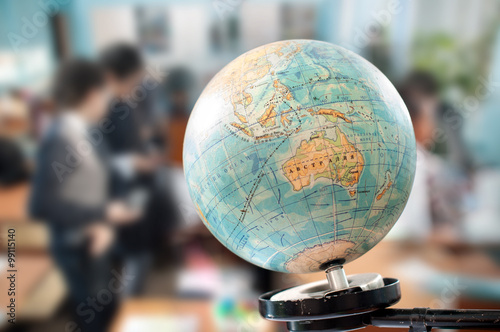 Plagát the globe during geography class