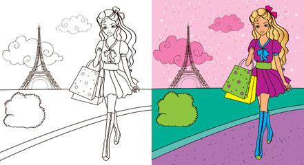 Colouring Book Of Girl Shopping